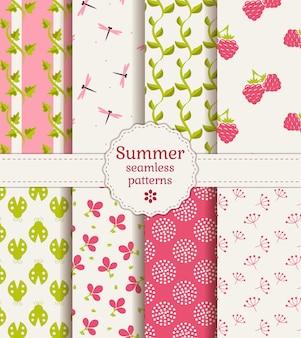 シームレスな夏のパターン。ベクトルを設定します。