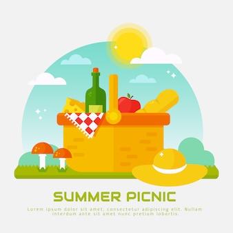 自然の中で夏のピクニック。フラットバスケットのイラスト。