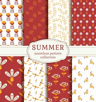 夏のパターンシームレスパターンベクトル。