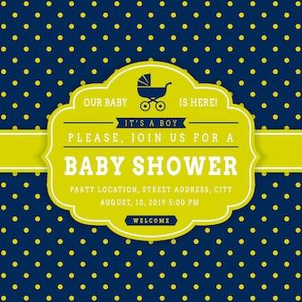 男の子のベビーシャワー。ベクトルの招待状カードのテンプレート