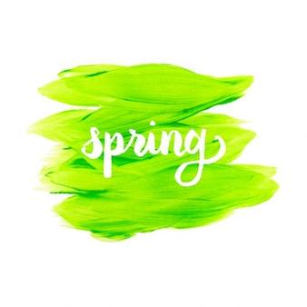 水彩緑の春の背景