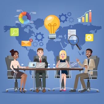 会議室のコンセプトでのビジネス会議。セミナーと同僚のためのプレゼンテーションを作る男のチーム。会社のオフィスのインテリア。漫画のスタイルのベクトル図