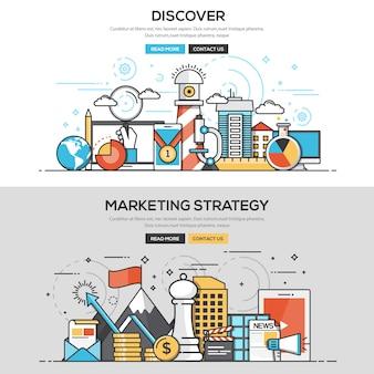 フラットデザインラインコンセプトテンプレート - 発見とマーケティング戦略