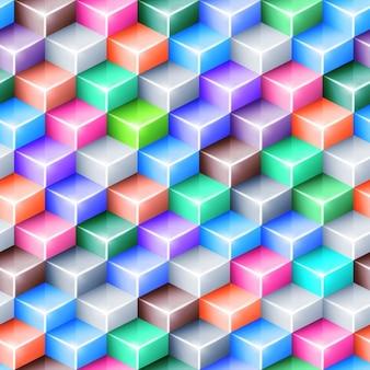 キューブと色とりどりの幾何学的な背景