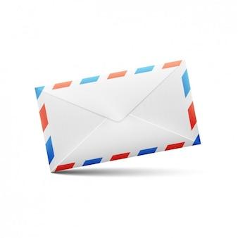 赤と白と青の線封筒デザイン