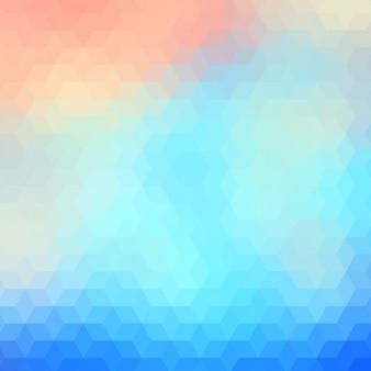 水色と赤の色調で抽象的な多角形の背景