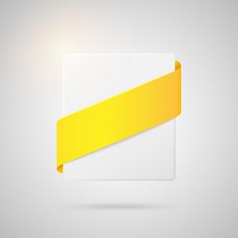 黄色いリボン付きスクエアバッジ