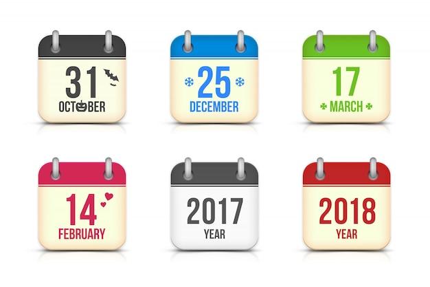休日のために設定されたベクトルカレンダーアイコン