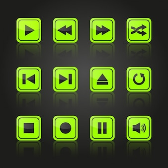マルチメディア緑色のボタンのデザイン