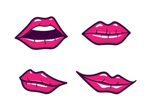 Векторные губы с розовым макияжем в мультяшном стиле