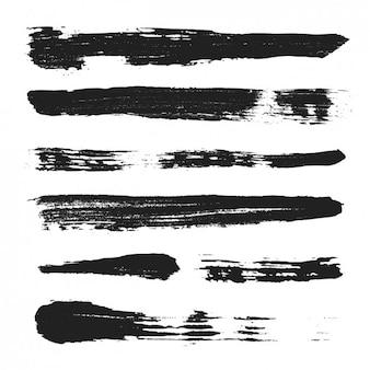 ブラック手描きのブラシストローク