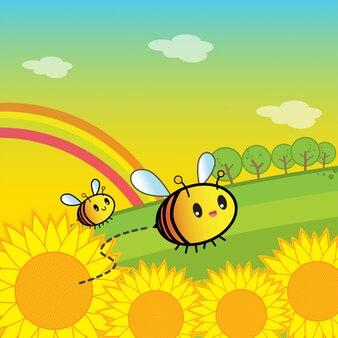 Пчелы и цветы в саду