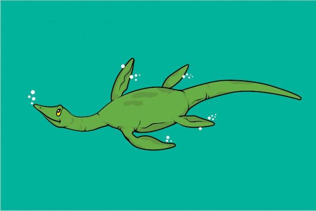 エラスモサウルス水泳恐竜