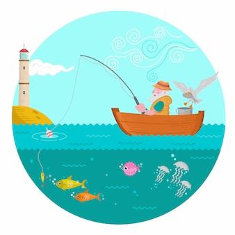 海の上の古い漁師の釣り