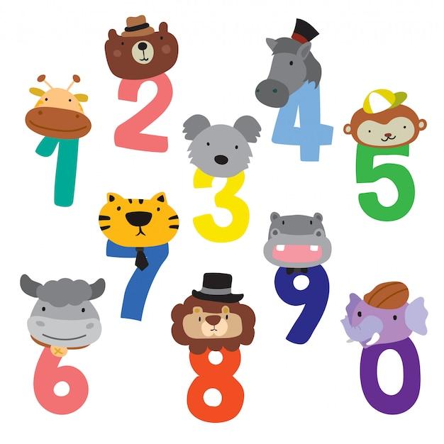 Животные номер векторный дизайн