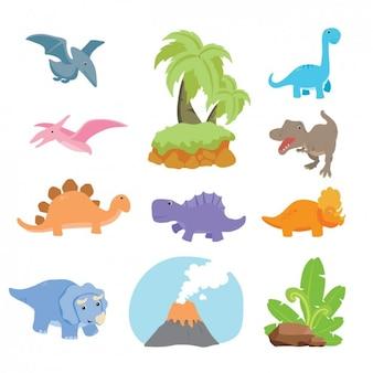 恐竜のコレクションのデザイン