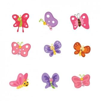 色とりどりの蝶のコレクション