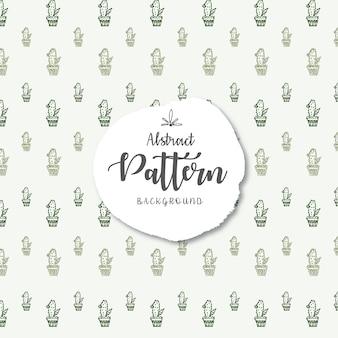 緑のサボテンのベクターのシームレスなパターン背景