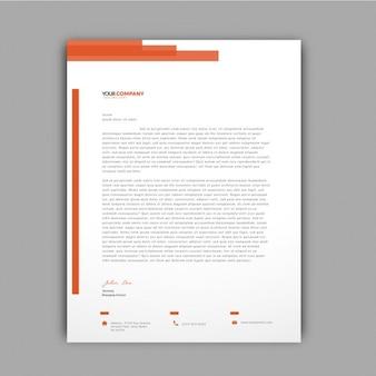 Оранжевые детали фирменного бланка шаблона