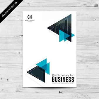 青い三角形のビジネスチラシのテンプレートデザイン