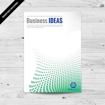 抽象的な緑の点在ビジネスフライヤーデザインテンプレート