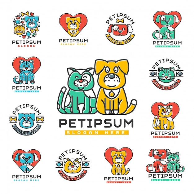 ペットの猫と犬の家の記章のシルエットの家のないペットの動物要素のための獣医医療避難所センター。