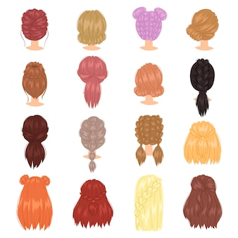 フレンチブレイドまたはポニーテールイラスト理髪や白い背景で隔離の着色と散髪で編んだ髪の女性の髪型
