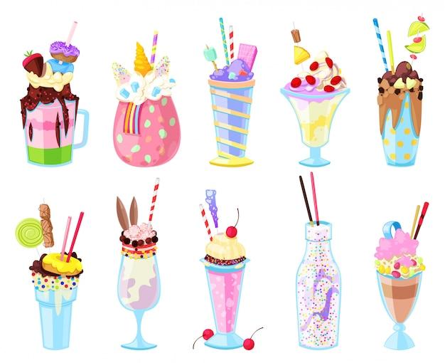ミルクセーキベクトルガラスで健康的なアイスクリームドリンクまたはガラスのアイスクリームジュースまたは白い背景で隔離の瓶のボトルイラストセットで新鮮な牛乳飲料ミックス