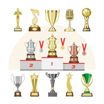 Награды вектор трофей призеры приз трофей или медаль для награжденного чемпиона с наградой за победу на соревнованиях иллюстрации набор золотой кубок за первое место, изолированных на фоне
