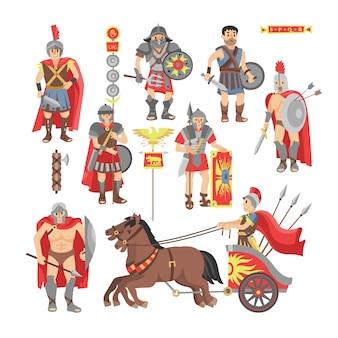 白い背景で隔離の戦争で戦うギリシャ人ウォーリオの歴史的なセットの剣または武器と古代ローマの図の歴史的なセットの盾の剣闘士ベクトルローマ戦士男文字