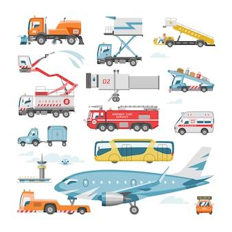 ターミナルとトラックの飛行機や旅客機のイラストセットで空港車両ベクトル航空輸送フライトサービス貨物とバスまたは白い背景で隔離のケータリング車両輸送