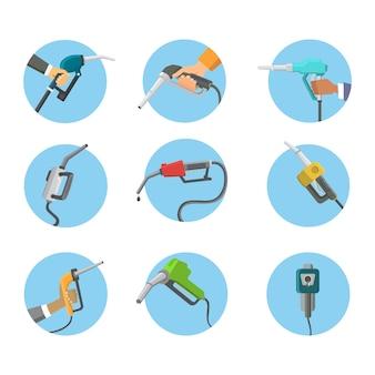 Заполнение пистолета азс в руках людей нефтеперерабатывающей промышленности заправки бензобак сервисный инструмент иллюстрации