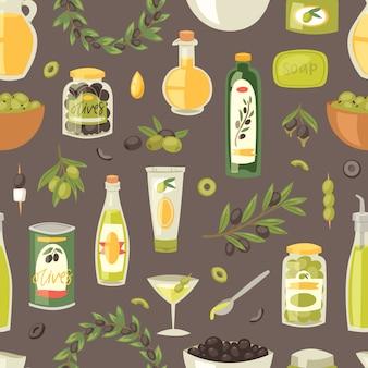 バージンオイルとオリーブブランチのオリーブオイルの成分とオリーブオリーブオイルボトルオリーブの枝のセットまたは花輪のシームレスなパターンの背景のオリーブ