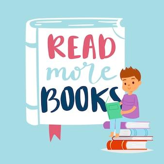 Прочитайте больше концепции книг для образования и школы, изучения и литературы с иллюстрацией книги чтения мальчика.