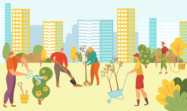 Люди, посадка деревьев в городском парке, природа, зеленые эколого-добровольцев с новыми растениями на фоне городской пейзаж плоской иллюстрации.