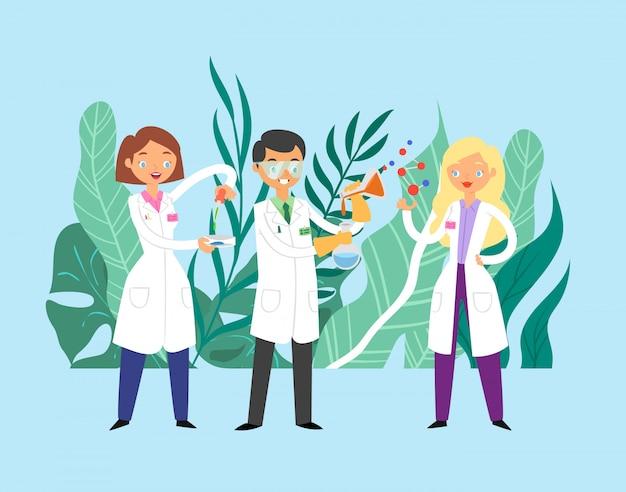 Ученые врачи коммуникации, команда врачей, работающих вместе, науки и медицины плоской иллюстрации.