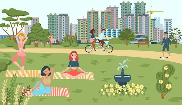 Люди занимаются спортом в парке, йоге, езде на велосипеде, катаясь на коньках в летнее время, детская площадка дорожки и фонтан городской достопримечательности достопримечательности плоской иллюстрации.