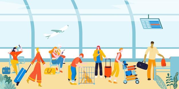 空港で荷物スーツケースを持った観光客、空港ラウンジのターミナルで旅行者の人々フラットイラスト。