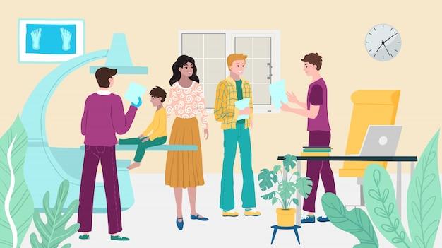 医師の予約、病院で健康診断患者の子供、母と子、病気の人は医師の漫画イラストをご覧ください。