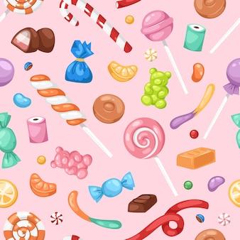 漫画甘いボンボン砂糖菓子キャンディー子供食品お菓子メガコレクションのシームレスなパターン背景