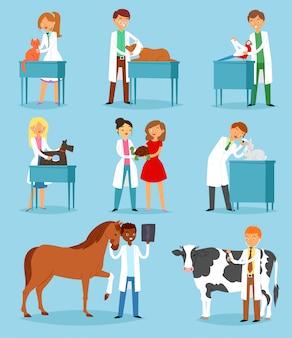 Ветеринарный врач ветеринар мужчина или женщина, лечение домашних животных пациентов кошка или собака иллюстрации набор ветеринаров людей с анималистическими персонажами в ветеринарной клинике на фоне