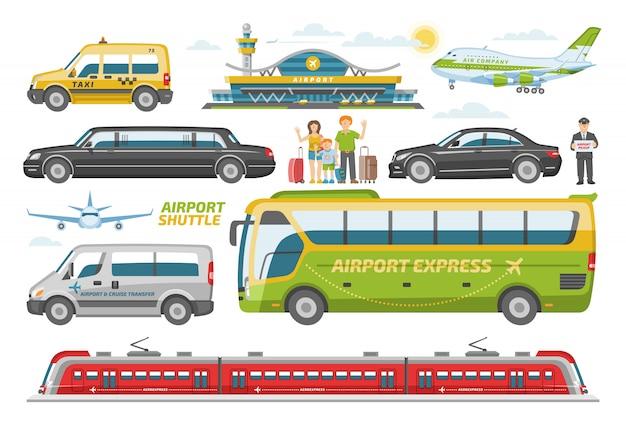 白い背景の上の人々と空港で飛行機の都市図セットの交通機関の公共交通機関車両バスまたは電車と車を輸送します。