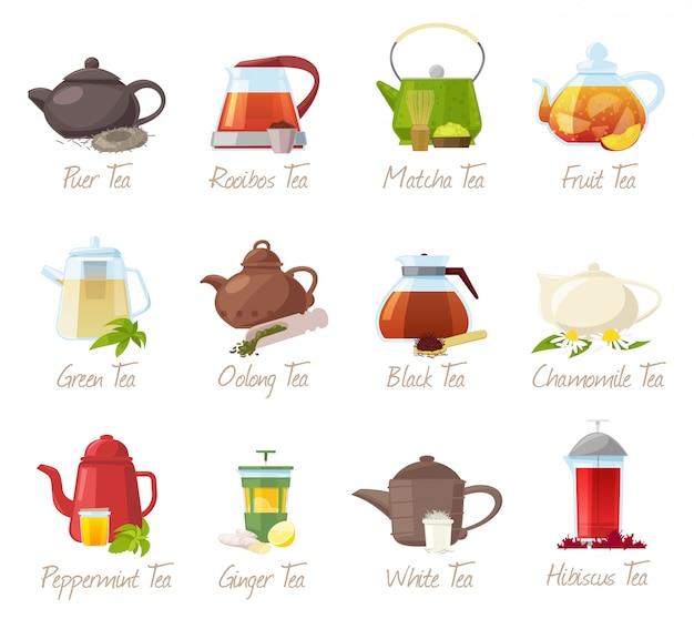 ティープーアティーとルイボスまたは抹茶フルーティーなドリンクティーポットイラスト飲む白い背景の上のカフェで緑茶または黒茶のセット