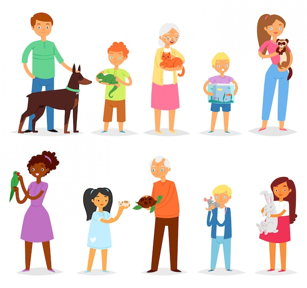 Люди с любимой женщиной или мужчиной и детьми, играющими с персонажами животных, кошкой, собакой или щенком, иллюстрации набор человек, девушка или мальчик с черепахой или попугай на белом фоне