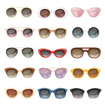 Солнцезащитные очки мультфильм очки или солнцезащитные очки в стильных формах для вечеринки и модные оптические очки набор аксессуаров для зрения зрения на белом фоне