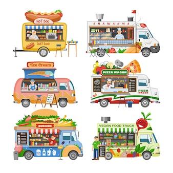 フードトラックストリートフードトラック車両とファーストフードの配達輸送のホットドッグやピザのイラストセット白い背景の上のフードトラックで販売する男キャラクター