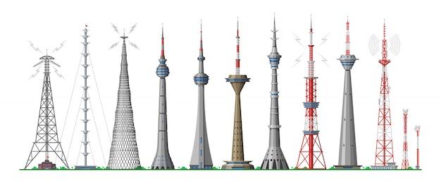 Башня глобального горизонта возвышается строительство антенны в городе и небоскреб, здание с сетью связи иллюстрации городской пейзаж набор возвышающихся архитектуры на белом фоне