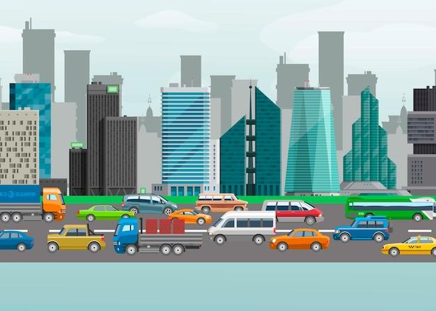 交通車線の都市車輸送の都市交通通りベクトルイラスト。カーシェアリングやカーナビゲーション用の都市景観の建物や通りのデザイン。