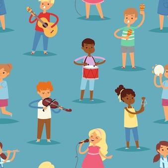 子供の歌や楽器のギター、ヴァイオリン、フルートの子供時代のキディイラストのシームレスなパターンの背景でフルートを演奏する子供たちの音楽子供漫画のキャラクターセット