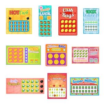 Лотерейный билет повезло бинго карты выиграть шанс лотереи джекпот набор иллюстрации лотерейные билеты на белом фоне